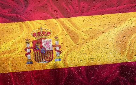watter: Spanish flag with watter drops, rainy weather, Spain