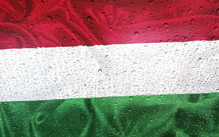 watter: Hungarian flag with watter drops, rainy weather, Hungary