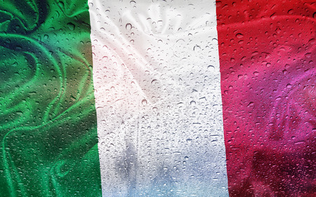 watter: Italian flag with watter drops, rainy weather, Italy