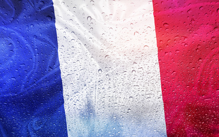 French flag with watter drops, rainy weather, France