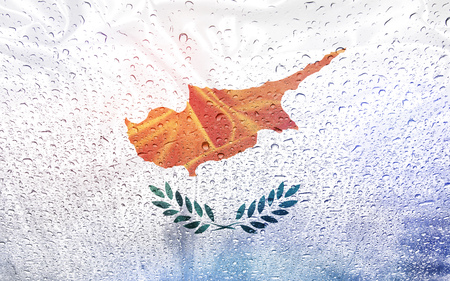cypress: Cypress flag with watter drops, rainy weather