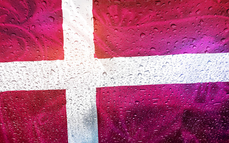 denmark: Denmark flag with watter drops, rainy weather