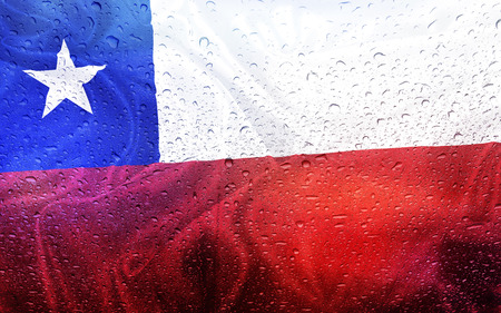 watter: Chilean flag with watter drops, rainy weather, chile