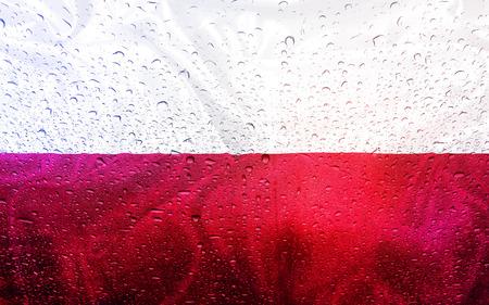 bandera de polonia: Polish flag with watter drops, rainy weather, Poland