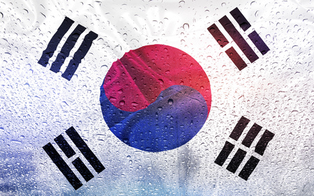 South Koreae flag with watter drops, rainy weather