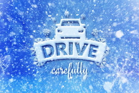 Drive carefully with car symbol, snow automotive graphic background, driving winter background