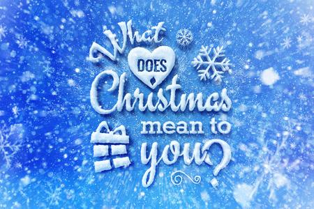 Wat betekent kerst voor jou met sneeuweffect, kerstkaart met typografiesamenstelling, kerst met sneeuweffect en decoratie