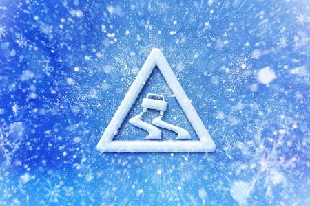 Winter snow slide warning symbol, snow automotive grahic slide background, driving winter background