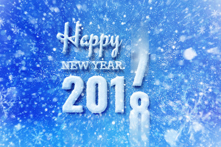 new year 2018 text with snow effect, happy new year lettering graphic with snowing and snowflakes