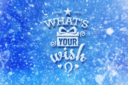 Wat is uw wens belettering met sneeuw effect, wenskaart met typografie samenstelling, kerstkaart met sneeuw effect en decoratie
