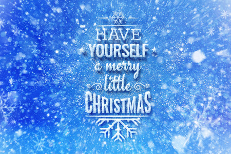 Have yourself a merry little Christmas lettering with snow effetct, Christmas wish card with typography composition, Christmas card with snow effect and decoration