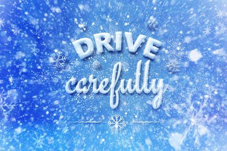 Rijdt zorgvuldig brieven, sneeuw automobiel grafische achtergrond, drijf de winterachtergrond