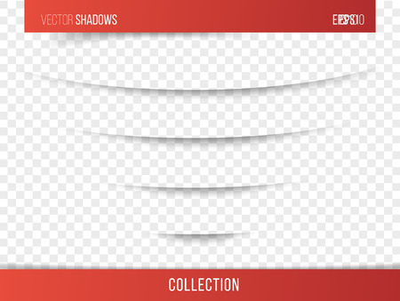 Realistic vector shadow with transparent background, set of transparent realistic linear paper shadow  vector illustration