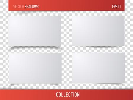 Realistische vectorschaduw met transparante achtergrond, reeks van transparante realistische lineaire document schaduw vectorillustratie