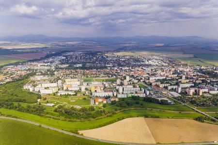 Aerial view of Topolcany, Slovakia, Slovak city Topolcany from plane 版權商用圖片