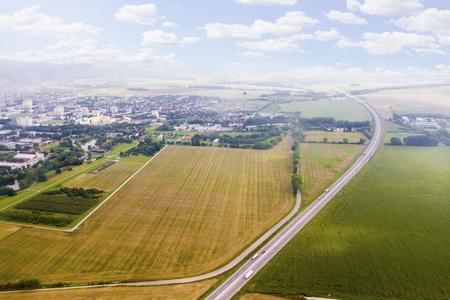 Luchtmening van gebied van vliegtuig, Slowaakse gebieden dichtbij Nitra, platteland van vliegtuig Stockfoto - 72159683