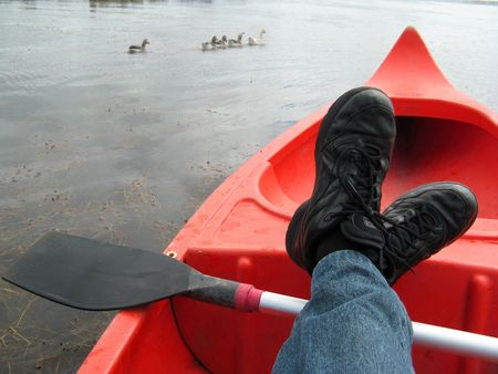 relaxing in the canoe