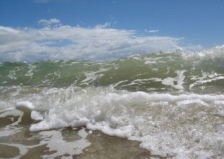 waves crashing at the shore