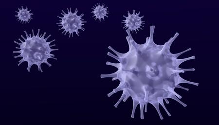 viruses: render 3D de virus atacando, sobre fondo oscuro