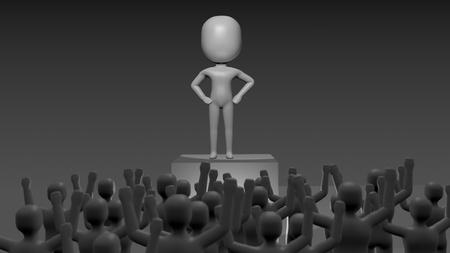 moltitudine: Persona orgogliosa con la testa gonfia, su una piattaforma, essendo adorata dalla moltitudine