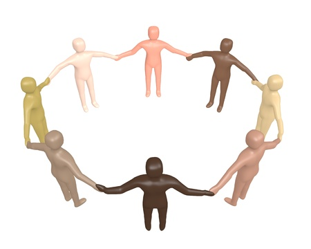 Unity concept - 3d render, circle of people from different ethnic backgrounds, holding hands.