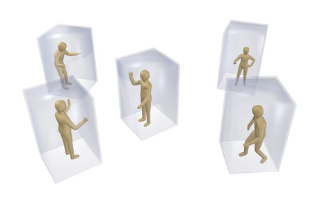Concept of individualism, isolation, where everybody is in their own little glass box