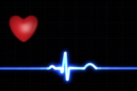 Red heart with a blue ECG trace on black background