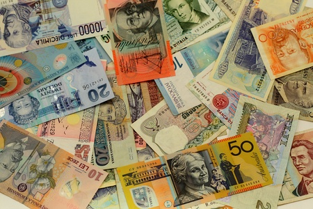 Background with international banknotes from Europe, Asia, Oceania Stock Photo