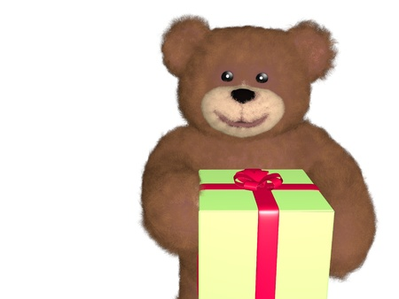 Close up of teddy bear giving gift, over white photo
