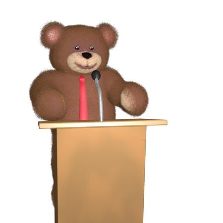 preacher: Cute teddy bear character speaking in public