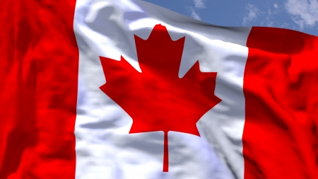 Canadian national flag waving in the wind photo