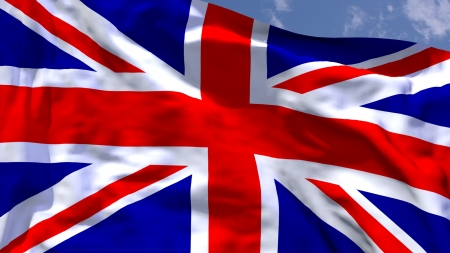 union jack flag: UK national flag waving in the wind