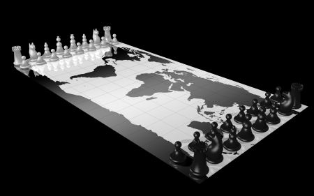 conquest: World map with white and black chess piece, illustrating the concepts of world domination, war, global competition