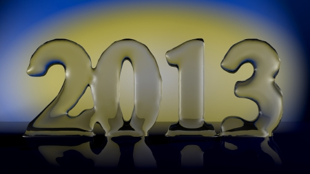 New Year 2013 - translucent number on a yellow and blue background Stock Photo - 15332301