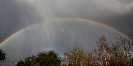 tough times: Beautiful rainbow on a stormy day   Concept of hope even during tough times