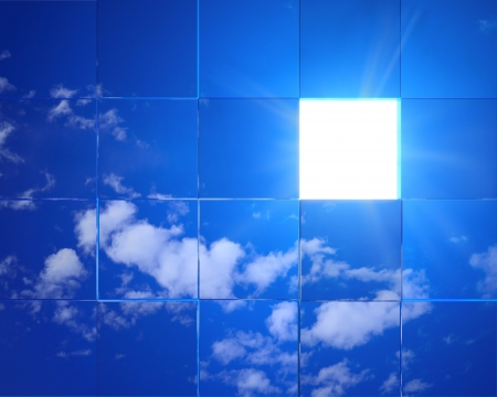 Tiled sky background with light streaming through an opening  Conceptual for heaven, hope, faith, religion photo