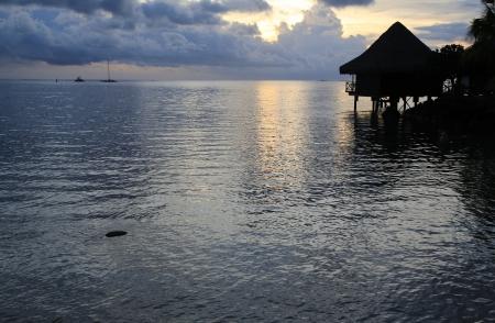 Romantic Tahiti sunset photo