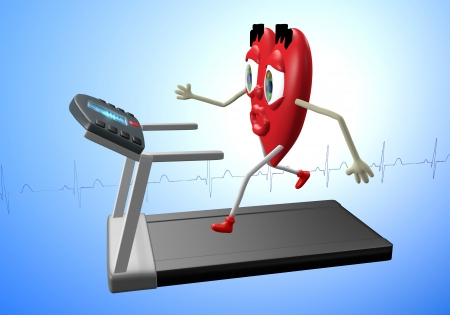 Heart character exercising on treadmill, concept of heart health, cardio exercise, fitness photo