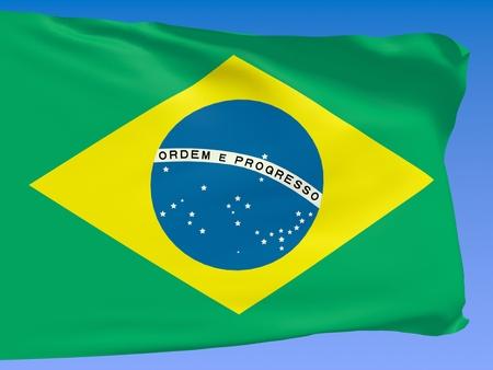 Brazil flag waving against a blue sky