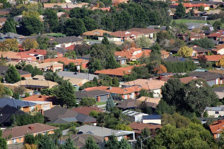 Suburban houses seen from high vantage point photo