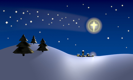sky stars: Christmas scene with the star of Bethlehem shining above the place where the baby Jesus Christ was Stock Photo