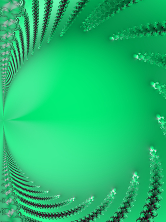Light green background with a frame formed by fractal shapes and circular copyspace in the middle