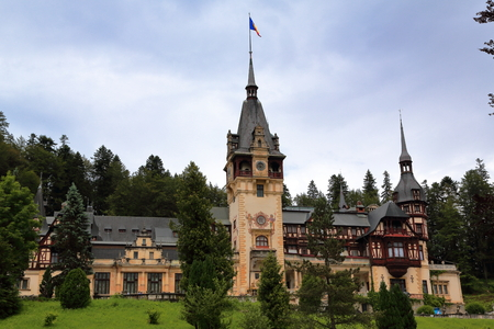 View of Peles Castle, at Sinaia, Romania, former royal residence in the late 1800s and first half of 1900s.