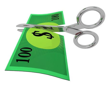 cutting through: Scissors cutting through a generic 100 dollar note, conceptual for cost cutting, budgeting, or money losing value