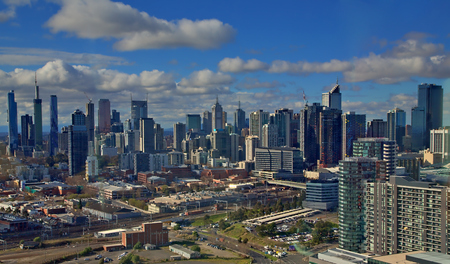 Skyline of Melbourne, Australia, seen from Docklands Editorial