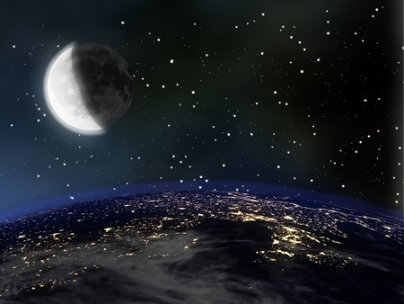 View of Earth and Moon from space at night Stok Fotoğraf