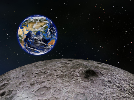 View of Earths eastern hemisphere from above the Moons surface, with stars in the background.