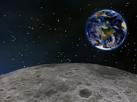 View of Earths western hemisphere from above the Moons surface, with stars in the background.