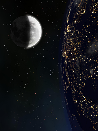 View of Earth and Moon at night