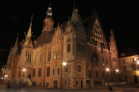 Ratusz on the main square in Wroclaw, poland